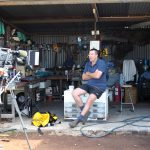 Interviewing Bruce in his shed