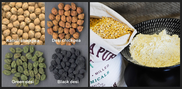 The difference between kabuli and desi chickpeas, chick pea splits and besan flour.
