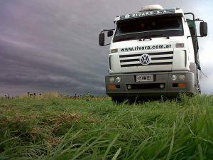 Trucks arrive for loading the grain