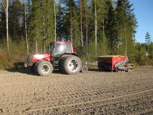 Sowing the oats in April
