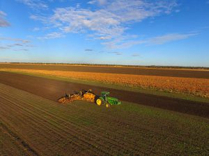 View from the drone: planting wheat in May
