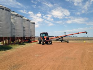 Graham's silos and tractor at the farm