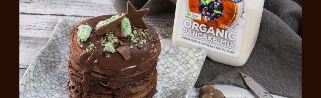 Choc pancakes made with Kialla's pancake mix
